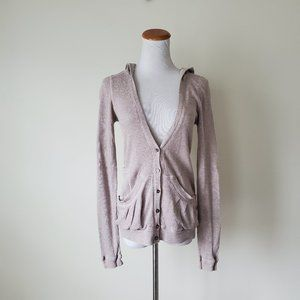 Marc Jacobs Waffle Cardigan Top Hooded Pockets XS